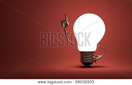 Light Bulb With Big Hands In Moment Of Insight On Red