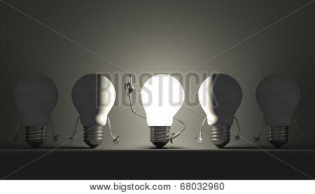 Light Bulbs, Moment Of Insight On Gray