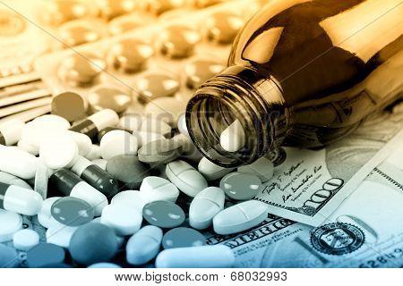 medical pills on white background.