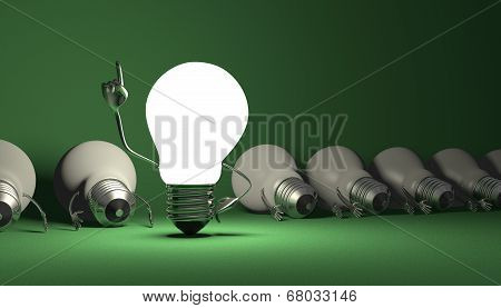 Light Bulb Character, Aha Moment  On Green