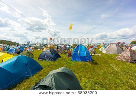 BIG ZAVIDOVO, RUSSIA - JULY 4: Campsite on open-air rock festival