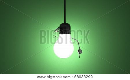Light Bulb Character In Socket, Moment Of Insight On Green