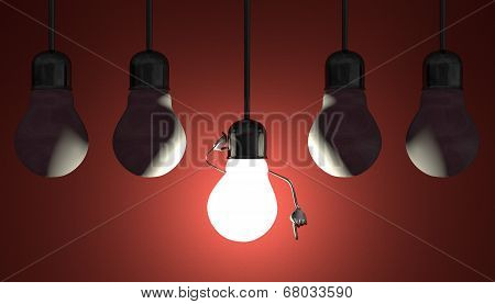 Light Bulbs In Sockets, Moment Of Insight On Red