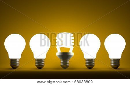 Glowing Spiral Light Bulb In Row Of Tungsten Ones On Yellow