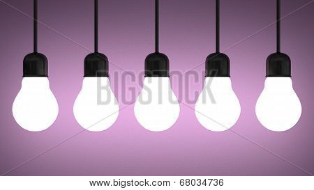 Hanging Glowing Tungsten Light Bulbs On Violet