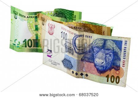 South African Banknotes In Denominations Of 10, 20 And 100