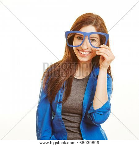 Smiling happy woman looking through fake nerd glasses