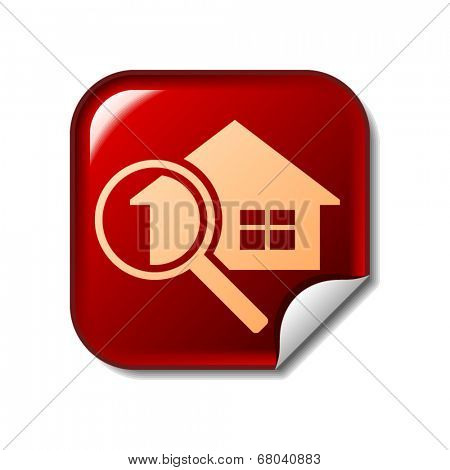 House and magnifier icon on red web sticker