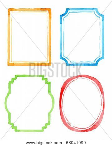 Set vintage artistic frames. Watercolor background. Vector illustration. Drawing by hand