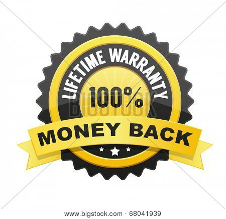 Lifetime warranty and 100% Money back label, badge, seal