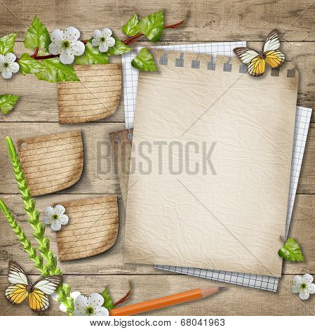 Blank Paper With Blossoming Cherry Branch, Butterfly, Pencil On Wooden Background