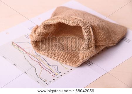Empty Gunny Sack On Worthless Invest Papers