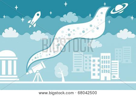 Are we alone in the Universe? Night sky with stars, saturn and rocket. Cartoon illustration of night city