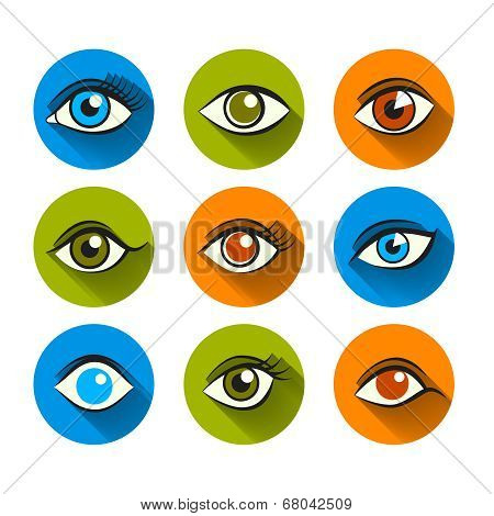 Eyes Icons Flat Set