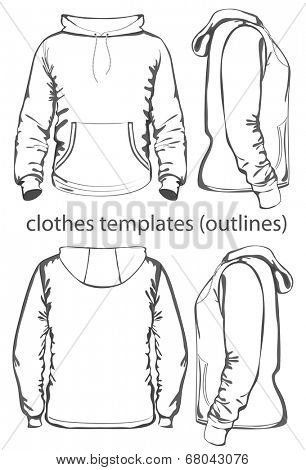 Men's hooded sweatshirt with pocket (back, front and side views). Outlines. Vector illustration.