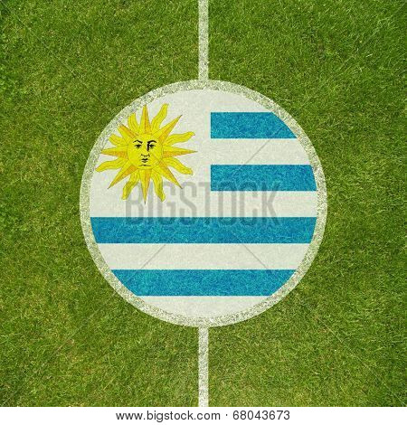 Football field center closeup with Uruguayan flag in circle