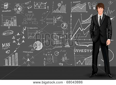 Business man sketch background