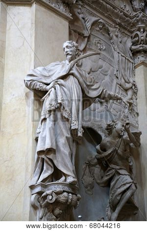 PARMA, ITALY - MAY 01, 2014: Statue of Saint , altar in the church of Saint Vitale. The church of St Vitale is located in the historic center of Parma, not far from City Hall