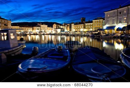 cres harbour croatia night view