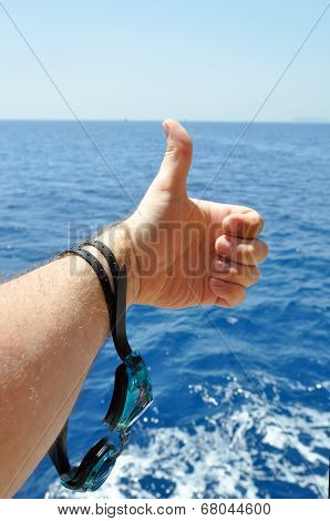 hand with goggles for diving
