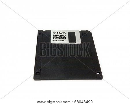 GOMEL, BELARUS - MAY 23, 2014: TDK floppy disk  on white background. TDK Corporation, is a Japanese multinational electronics company that manufactures electronic materials, and data-storage media.