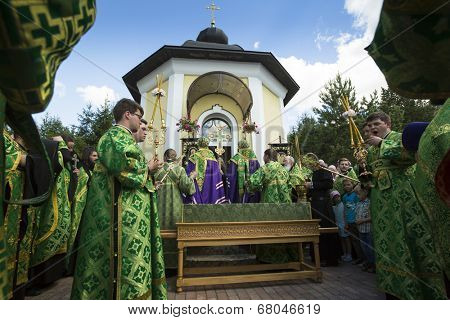 KRASNY BRONEVIK, RUSSIA - JULY 7, 2014: Celebrations commemorating the Rev. Anthony Dymsky (died 1224) in Antony Dymsky Monastery