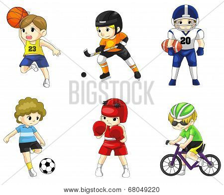 Cartoon Male Athlete Icon In Various Type Of Sports (vector)