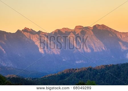 Exotic Summer Sunset And The Mountains (doi Chiang Dao), Thailand