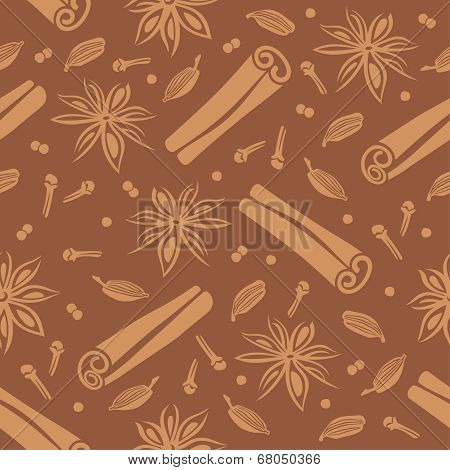 Seamless vector background with spices