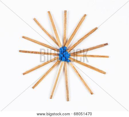 Round Pile Of Dark Blue Matchsticks
