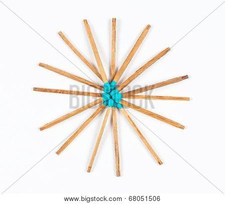 Round Pile Of Aqua Matchsticks