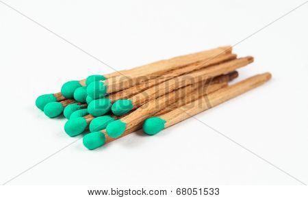 Pile Of Green Matchsticks