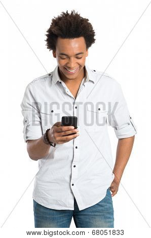 Young Happy African Man With Cellphone Isolated On White Background