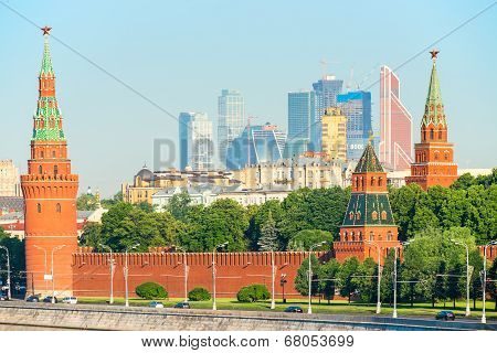 Moscow Kremlin And View Of Skyscrapers