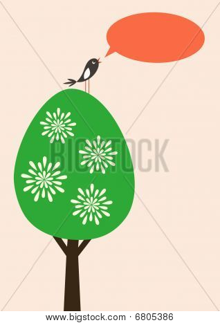 Vector card with tree and bird