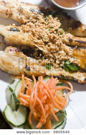 Vietnamese Food Appetizer Ga Nuong Sate Grilled Chicken