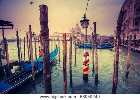 Amazing view of Grand Canal at sunset. San Marco, Venice, Italy, Europe. Beauty world. Retro style filter. Instagram toning effect.