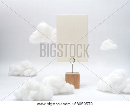 White Texture Blank Name Card On Wood Stand