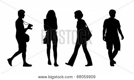 Asian People Walking Outdoor Silhouettes Set 4