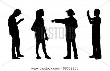 Asian People Standing Outdoor Silhouettes Set 5