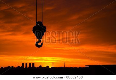 Horizontal Hook Silhouette Construction On City Background