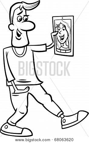 Video Chat Cartoon Coloring Page