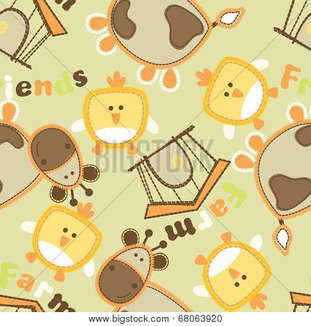 Farm Friends With Cow And Bird Seamless Pattern
