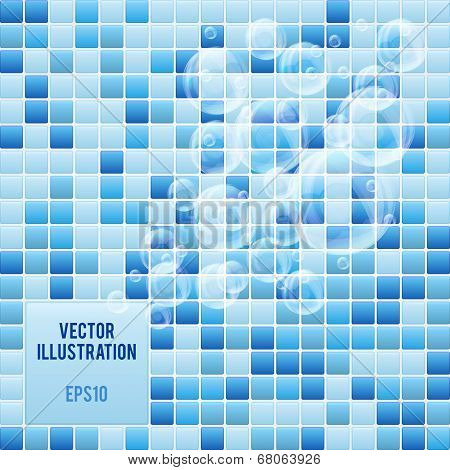 Blue mosaic small tiles texture background of spa.