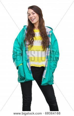 Young Woman Smiling With Raincoat