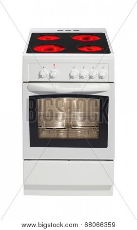 Modern white stove isolated on white