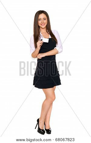 Young businesswoman holding blank credit card