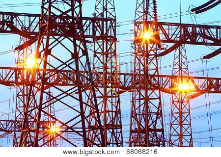 Electric substation in night-time lighting