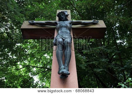 SCHMERLENBACH, GERMANY - JULY 19: Crucifixion, Sanctuary of St. Agatha in Schmerlenbach in the Diocese of Wurzburg on July 19, 2013 on July 19, 2013.