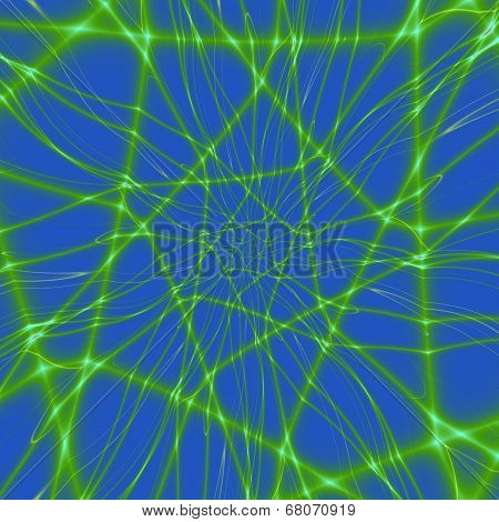 Neon Green Web On Blue